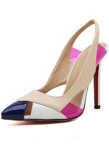 Color-block Point Toe Cutout High Heeled Pumps