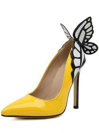 Yellow Point Toe With Butterfly High Heeled Pumps