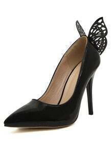 Black Point Toe With Butterfly High Heeled Pumps