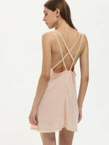 Apricot Spaghetti Strap Cross Back Dress