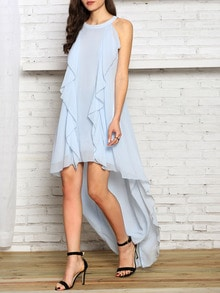 Blue Halter Ruffle High Low Dress