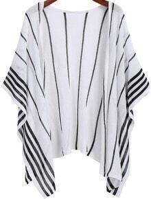 White Vertical Stripe Loose Kimono
