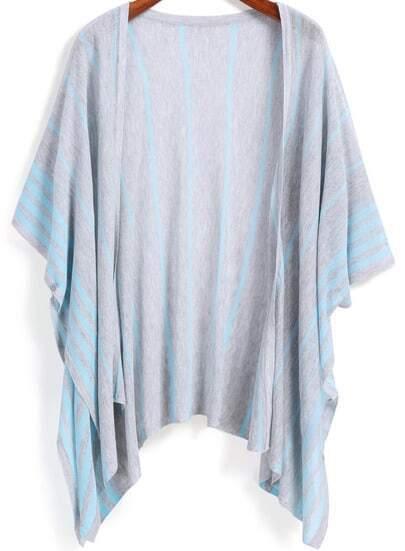 Grey Vertical Stripe Loose Kimono