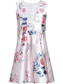 Multicolour V Neck Sleeveless Floral Slim Dress