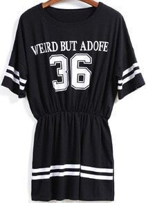 Black Short Sleeve Letters 36 Print Dress