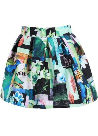 Multicolor Lily Print Flare Skirt