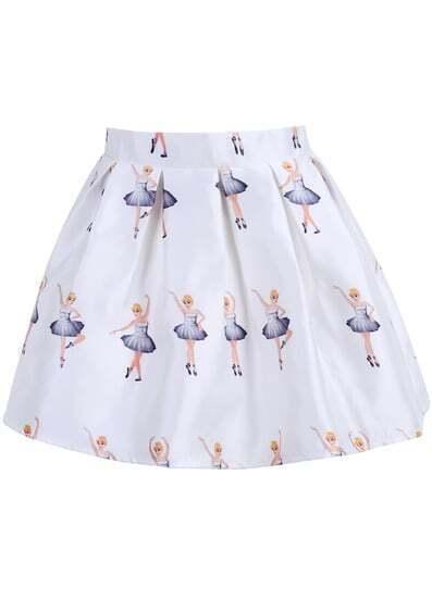 White Dancing Beauty Print Flare Skirt