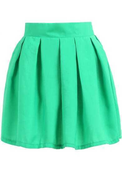 Green Pleated Flare Skirt