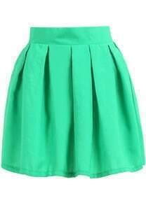 jupe évasé plissé -vert