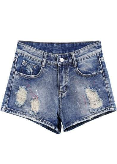 Blue Pockets Bleached Ripped Denim Shorts