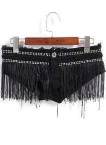 Black Lace Tassel Denim Shorts