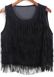 Black Round Neck Tassel Chiffon Tank Top