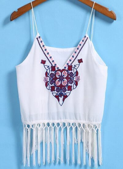 White Spaghetti Strap Embroidered Tassel Cami Top