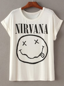 White Short Sleeve NIRVANA Face Irresistible Ugly Print T-Shirt