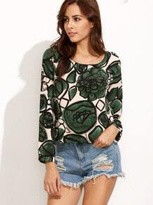 Green Long Sleeve Leaves Print Crop Blouse