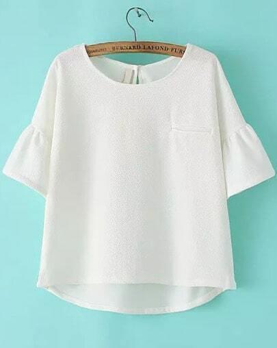 White Bell Sleeve Dip Hem Chiffon Blouse