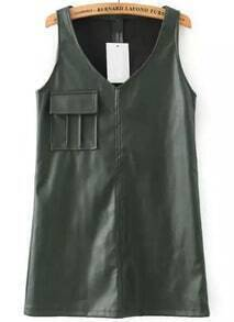 Army Green V Neck Sleeveless Pocket PU Dress