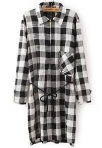 Black Lapel Long Sleeve Plaid Pocket Dress