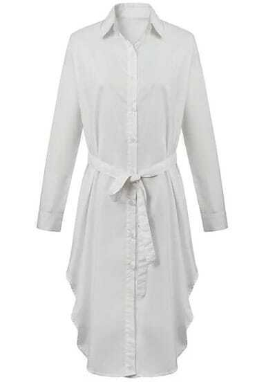 White Lapel Long Sleeve Tie-waist Shirt Dress