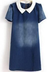 Navy Contrast Collar Bleached Denim Dress