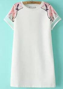 White Short Sleeve Floral Straight Chiffon Dress
