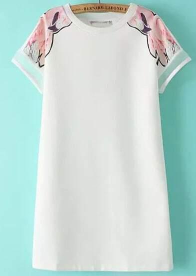 White Short Sleeve Floral Straight Chiffon Dress