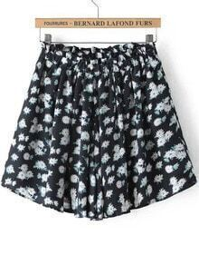 Black Elastic Waist Floral Skirt Shorts