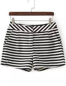 Black White Striped Pocket Shorts