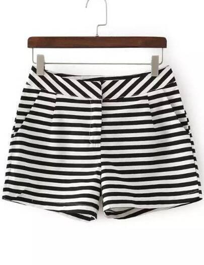 Black White Striped Pocket Shorts
