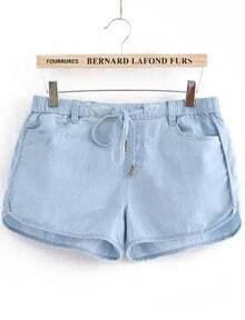 Light Blue Elastic Waist Pockets Denim Shorts