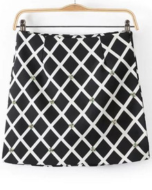 Black White Plaid Bead Skirt