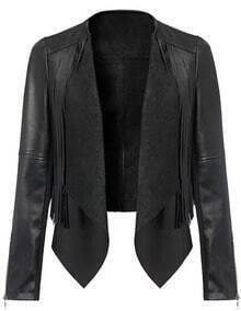 Black Contrast PU Leather Tassel Crop Jacket