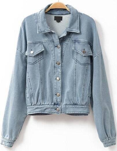 Blue Lapel Buttons Denim Crop Jacket