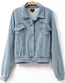 Blue Lapel Buttons Denim Crop Jacket