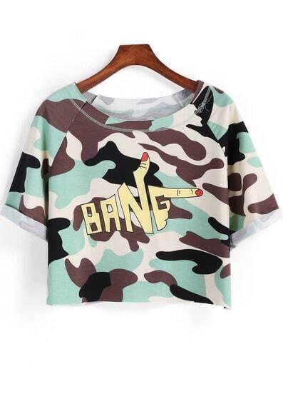 Light Green Short Sleeve Camouflage Print Crop T-Shirt