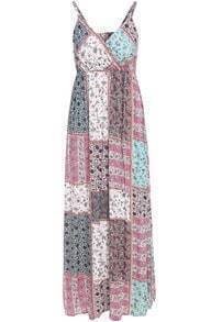 Multicolor Spaghetti Strap Cashews Print Maxi Dress