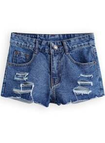 Blue Low Waist Ripped Denim Shorts