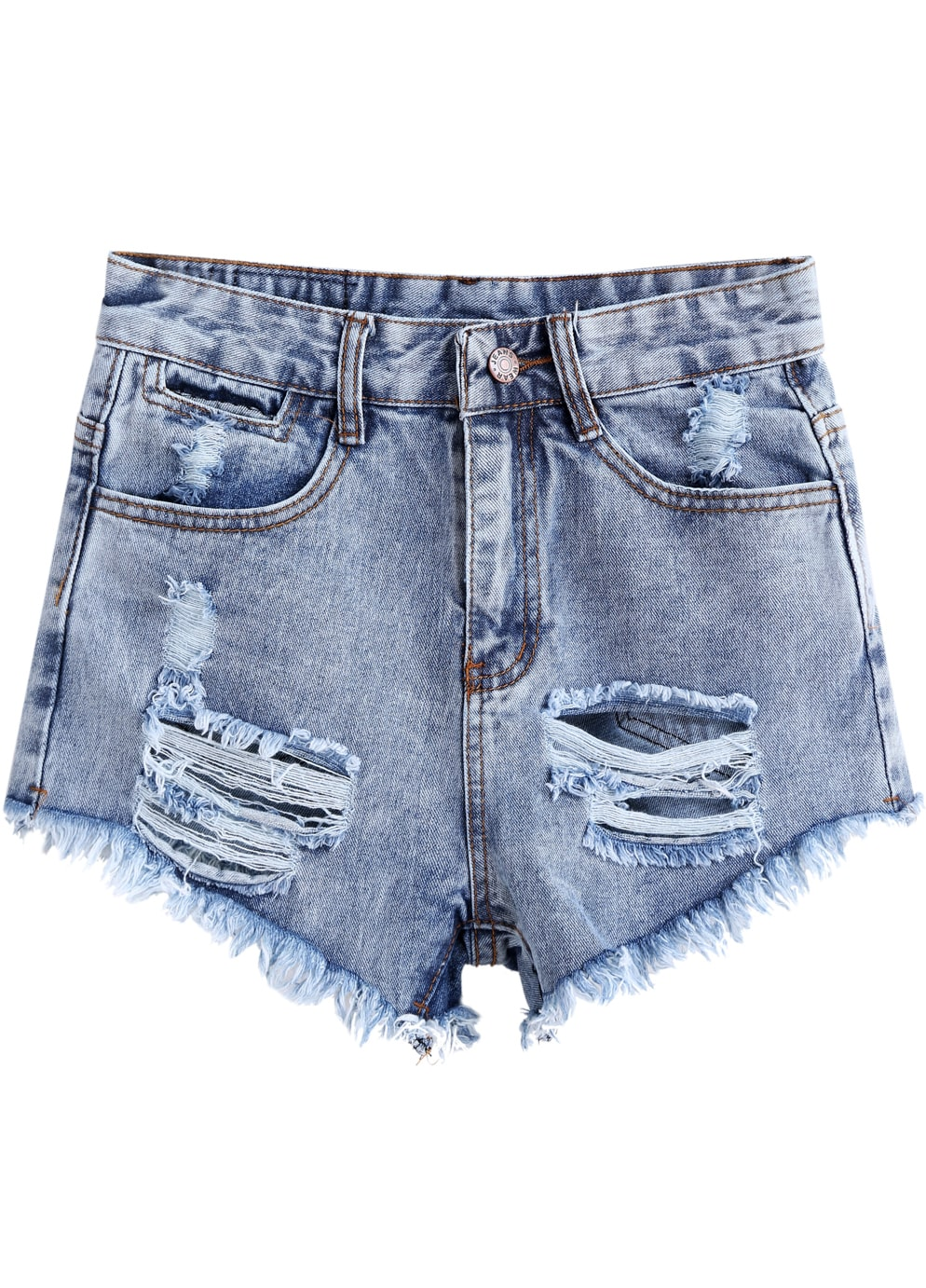 Blue High Waist Ripped Denim Shorts -SheIn(Sheinside)
