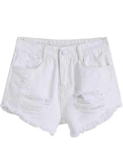 White Ripped Tassel Denim Shorts