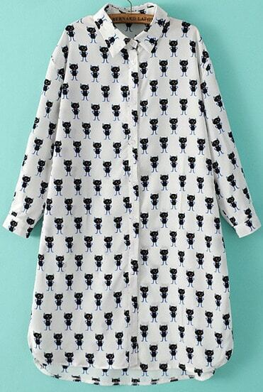 White Lapel Long Sleeve Cats Print Loose Blouse