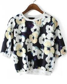 Black Round Neck Floral Chiffon Crop Blouse