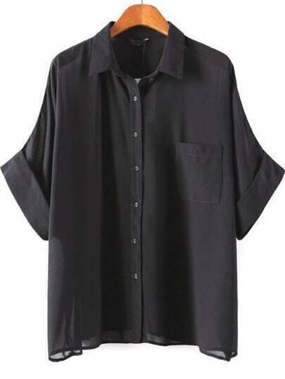 Black Lapel Batwing Sleeve Pocket Blouse