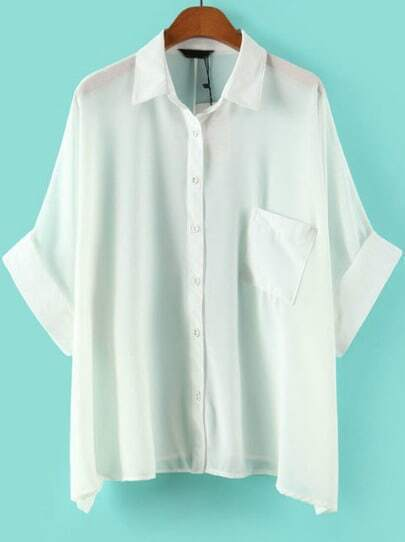 White Lapel Batwing Sleeve Pocket Blouse