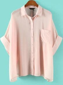Pink Lapel Batwing Sleeve Pocket Blouse