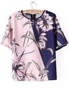 Colour-block Short Sleeve Floral Loose Blouse