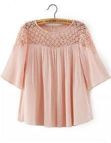 Pink Short Sleeve Hollow Lace Loose Blouse