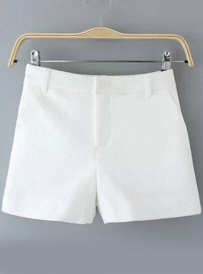 White Diamond Pattern Shorts