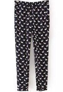 Black Drawstring Waist Goose Print Pant