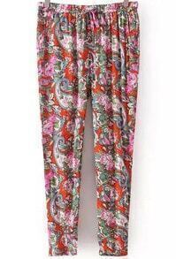 Orange Drawstring Waist Cashew Print Pant