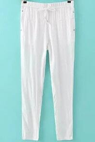White Drawstring Waist Rivet Pant